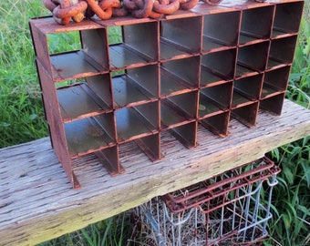 """Industrial Cubby, rust and faded olive drab, found at """"the Gathering""""...Urban Loft, Junk Style, Flea Market Find, Faded Prairie for sure..."""