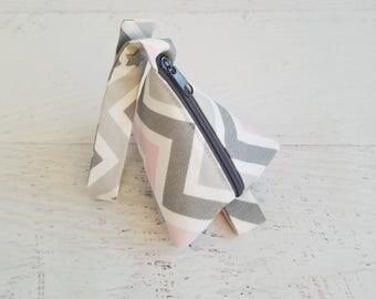 Baby Girl Pacifier Pouch | Pacifier Bag | Pacifier Pod | Triangle Bag | Mini Coin Purse | Earphone Case | Chevron Baby Shower Gift Idea