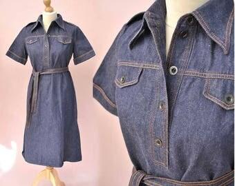 Vintage 1970s Shirt Waister Denim Dress • Short Sleeve Jean Dress