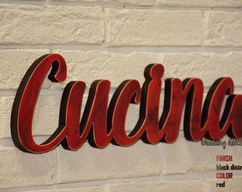 BLACK DISTRESSED Red Cucina Wood Sign Words Home Decor Kitchen- Rustic CUCINA