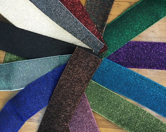 2 in - 5 cm wide shimmery waistband  2 in - 5 cm wide glitter elastic, shimmery webbing, shimmery elastic, glitter webbing, glitter elastic