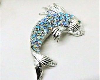 Fish Brooch - Vintage, Coro Signed, Silver Tone, Blue Aurora Borealis Rhinestones, Pins