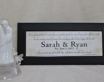 Wedding Gift Personalized, Marriage Scripture, Personalized Wedding, Christian Gift, Marriage Prayer, Wedding Bible Verse, Framed 4 x 11 1/2
