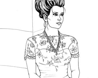 Emily - Fashion/Fantasy Coloring Page