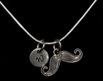 Mustache Sterling Silver Necklace, Moustache Sterling Silver Necklace, Sterling Silver Necklace qb109