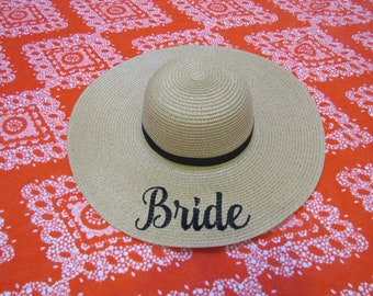 Bride Beach Hat, Floppy Hat, Straw Hat, Ladies Sun Hat, Girls Weekend, Honeymoon, Bride to be