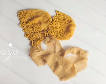 Baby girl, newborn or 6-12 months size mustard lace bonnet, hat, vintage style, yellow, ready to send photo prop