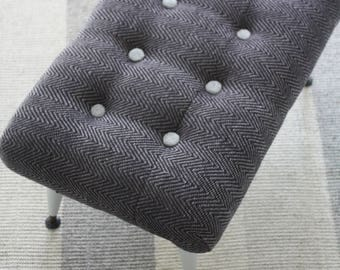 Re-upholstered Rectangular Vintage Button Footstool, Ottoman 1950s