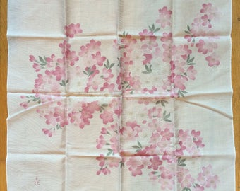Vintage 1990s New w/label Asian Cherry Blossom Cotton Handkerchief/Made in Japan