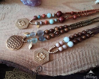 Macramé Boho Necklace with Semiprecious Stone, Brass and Wood beads