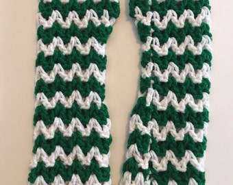 Green and White Arm Warmers
