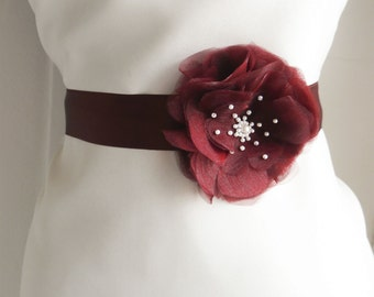 Bordeaux Flower Bridal Sash, Marsala Wedding, Burgundy Bridal Sash, Floral Sash, Formal Dress Sash, Bordeaux, Burgundy, Dark red bridal belt