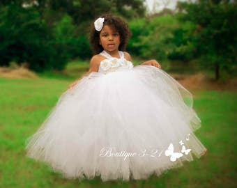 White Flower Girl Dress, White Tutu Dress, White Tulle Dress, White Dress, White Wedding, White
