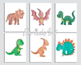 Dinosaur Print Dinosaur printable Set of 6 Dinosaur Prints Watercolor Dinosaur wall art Dinosaur decor Baby Boy Nursery art 5x7 DOWNLOAD