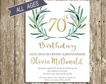 70th Birthday Invitation 80th Birthday invitations for woman Green and gold 90th Birthday Invitation for Men 60th Birthday Invitation Leaves