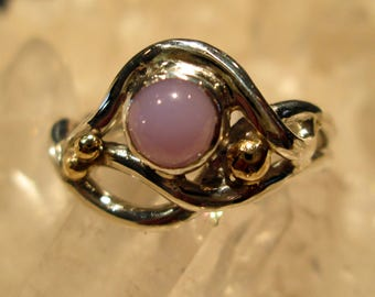 Holley Blue Ring ~Handmade~ Sterling w/ 14K Gold  Rare Oregon Holley Blue Agate