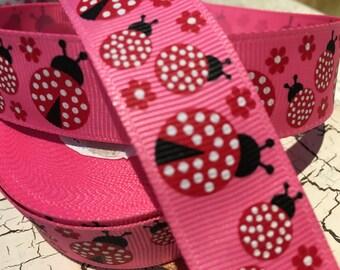 "9 yards 7/8"" Red Ladybugs flower on hot pink grosgrain"