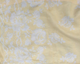 Beautiful vintage French cotton jacquard yellow and white roses tablecloth