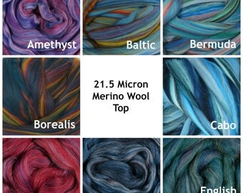 4 oz of Multi Colored Merino Wool Top 16 Colorways Dyed Heather 21.5 Micron Roving for felting and spinning