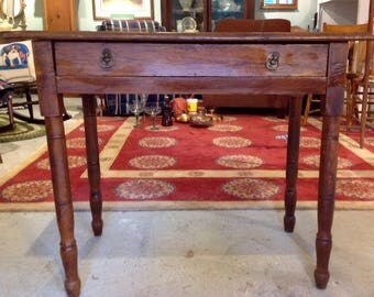 Antique table with drawer and pretty pulls