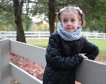 Kids scarf, child cowl, crochet cowl in silver blue