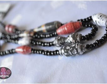 "Handmade  Paper Bead ""single strand"" Necklace - Red, White & Black"