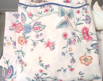 Vintage Laura Ashley Full-Size Fitted & Flat Sheet Set, Chinese Silk Pattern, Scalloped Edge, Blue, Pink, Yellow Flowers, Made in USA