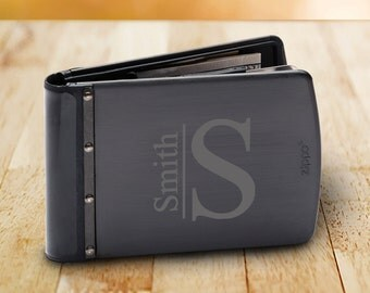 Monogrammed Zippo Titanium Black RFID Blocking Wallet - Zippo Wallets - Personalized Zippo Wallet - Gifts for Him - Groomsmen Gifts - GC1517