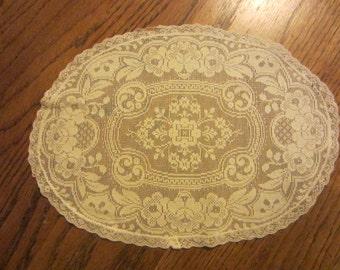 Vintage/Antique Oval Lace Cream Doily  Lace Tray Doily  Delicate Lace  Antique Lace  Antique Doily  Antique Decor