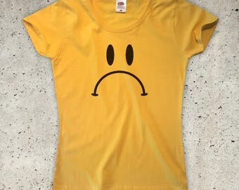Frowny T-Shirt - Yellow - Womens XS S M L XL