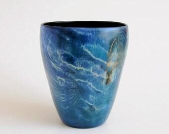 Vase, Hornbeam wood stained ,wooden, handmade woodturning,Blue