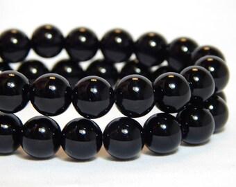 8mm Black Onyx, 8mm Black Beads, Black Stone Beads, Black Onyx Beads, 8mm Black Agate, Black Gemstone Beads, Black Agate Beads, B-8B
