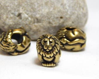2 Antique Brass Lion Beads, Lion Beads, Large Hole Lion Beads, Tierra Cast Lion Beads, Bronze Lion Beads, Detailed Lion Beads, A-050