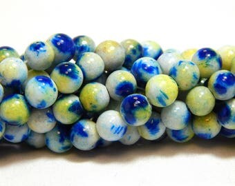 6mm Candy Jade, 6mm Mountain Jade, Speckled Jade, Dyed Blue Jade, Multicolor Candy Jade, 6mm Mulit-colorBeads, Blue Yellow Beads, B-55A
