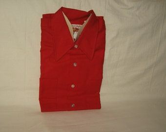vintage 1970s country squire cotton red flannel longsleeve shirt size small 14 1/2 new old deadstock