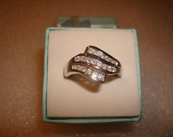 Diamond Cut White Sapphire 925 Sterling Silver Wave Wedding Band Ring Size 8.25