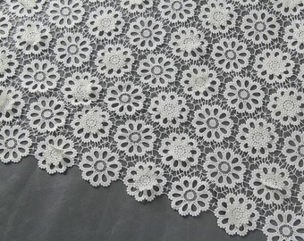 white circle lace ,wedding dress fabric flower embroidery cloth  White Water Soluble Lace Fabric