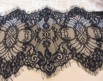 3yards Exquisite Wide Black Chantilly lace , ivory Eyelash Lace Trim Width 32 CM Sell By 3Yard( More than 3 yards is not continuous)-6502