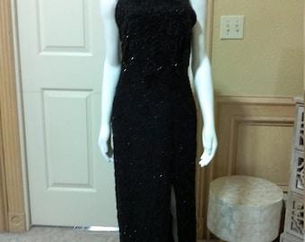 Beautiful Art Deco  Black Long Evening Beaded Dress/Mother of the Bride Dress/ Wedding Guest Dress /Red Carpet Dress Size S/M