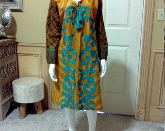 Turquoise and Gold Cotton Silk Embroidered Ethnic Dress/ Folk Dress/ Boho Dress / Hippie dress/ Tunic aprox size M/L