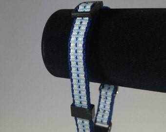 Handwoven adjustable cat collar with breakaway safety buckle, Blue and White; Optional tag