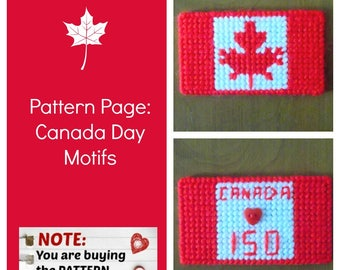 "Plastic Canvas Pattern Page: ""Canada Day"" (2 designs, graphs and photos, no written instructions) ***PATTERN ONLY!***"