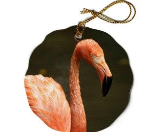 Flamingo Christmas Tree Ornament Orange Porcelain Scalloped