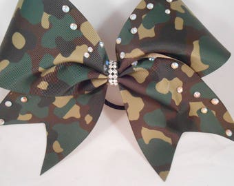 Cheer Bow Camoflage Camo w Rhinestone accents by BlingItOnCheerBowz
