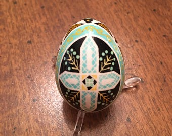 Cross on Quail Egg Pysanka by The Pysanky Nest