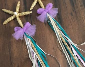 Starfish wand, starfish bling wands, mermaid party favors