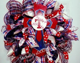 Baseball Wreath - Texas Rangers Baseball Wreath - Sports Wreath