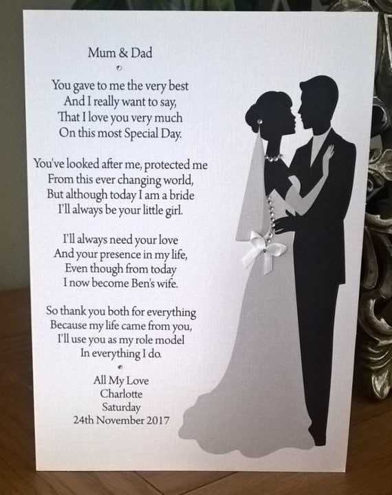 Handmade Personalised A5 Wedding Thank You Card For Parents/