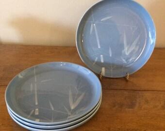 Vintage Mid Century Modern Winfield Blue Pacific Dinner Plates - set of 4