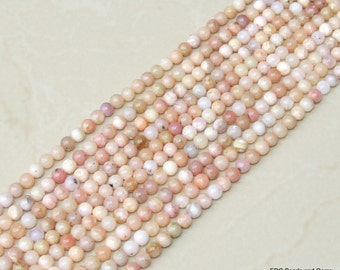 Pink Peruvian Opal Smooth Polished Bead - Pink Opal Bead - Peruvian Pink Opal - Half Strand - 6mm